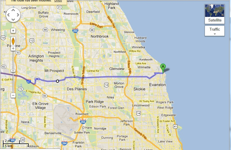 Evanston to Iowa using Golf road