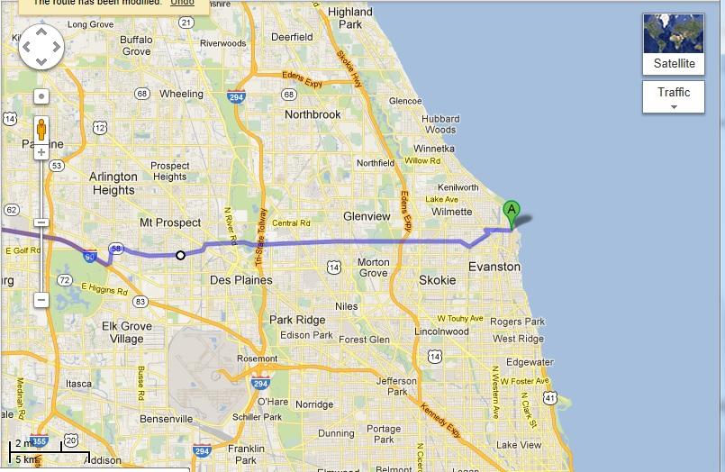 Evanston to Iowa using Golf road