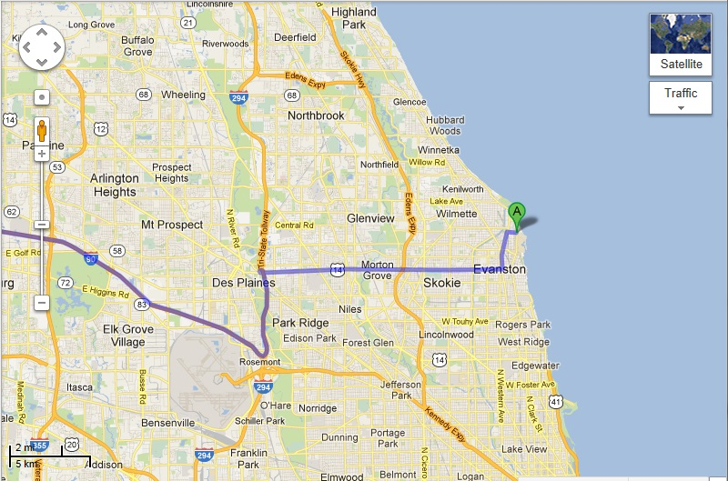 Directions from Evanston using interstate